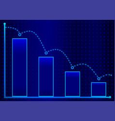 Decreasing bar graph with blue arrow isometric vector