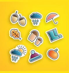 set autumn stickers vector image