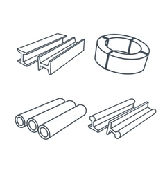 Metallurgy products icons set vector