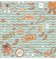 In blue tones pattern on shopping themed vector