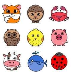 Cute cartoon circle animals collection vector