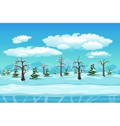 Cartoon winter landscape with ice snow and cloudy vector