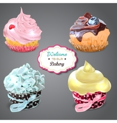 Set of delicious cupcakes with different toppings vector