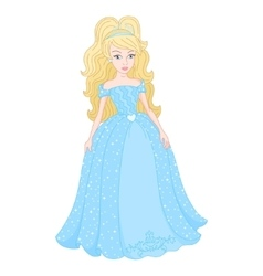Gentle princess in shine cyan dress with spangles vector