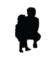 Girl with grandmother silhouette vector