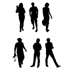 Silhouettes of tourists vector