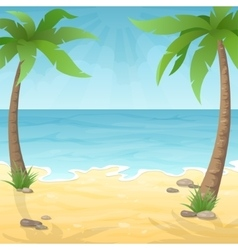 Two palm trees on the beach vector