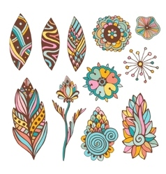 Abstract floral set with hand drawn doodle vector image