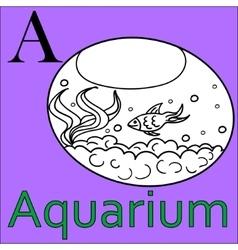 alphabet Coloring book aquarium A letter vector image vector image
