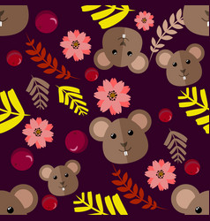 Beautiful cartoon seamless pattern with mouse vector