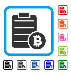 Bitcoin price list framed icon vector