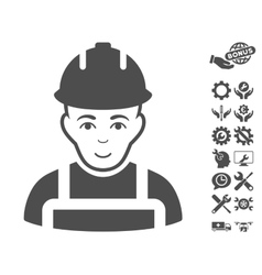 Builder icon with tools bonus vector