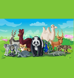 Cartoon asian animals template vector