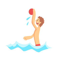 cheerful boy playing with beach ball in the sea vector image vector image