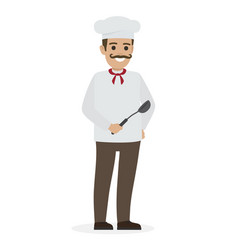 chef food in white tunic and toque holds ladle vector image