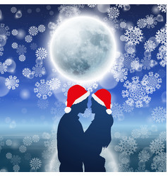 Couple over background with moon and snowflakes vector