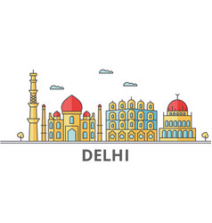 Delhi city skyline buildings streets silhouette vector