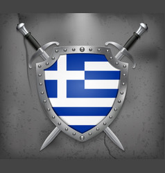 flag of greece the shield with national flag two vector image vector image