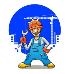 funny smiling builder vector image vector image
