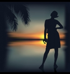 girl and tropical sunset vector image vector image