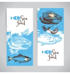 Hand drawn sketch seafood banners sea vector