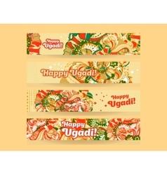 Happy ugadigudi padwa hindu banner templates set vector