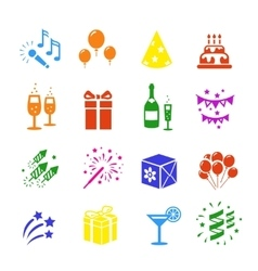 Icons set Holidays Party Birthday colored vector image