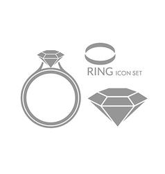 Jewelry Wedding ring Diamond Icon set vector image