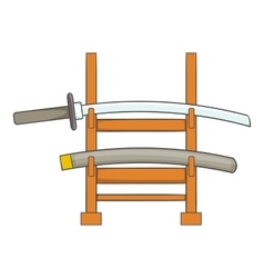 Katana on a wooden stand icon cartoon style vector