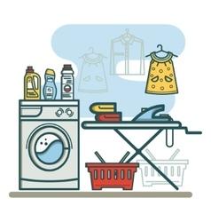 Laundry room linear vector