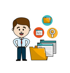 Man with digital folder file and documets icons vector