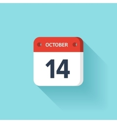 October 14 isometric calendar icon with shadow vector