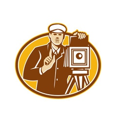 Photographer Vintage Camera Front Retro vector image