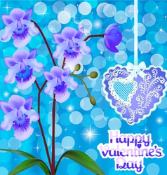 postcard with orchids and heart vector image vector image