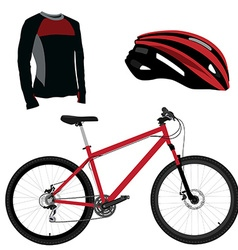 Red bicycle helmet and shirt vector image