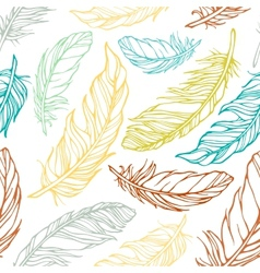Seamless pattern with decorative feathers vector image