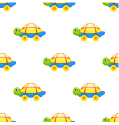 Seamless pattern with toy turtle on wheels vector
