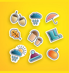 set autumn stickers vector image