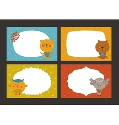Set of cartoon animal borders vector