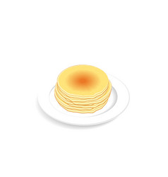 stack of fluffy and fresh pancakes on plate vector image vector image