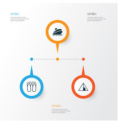 Tourism icons set collection of shipping tour vector