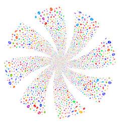 Ufo symbols fireworks swirl flower vector