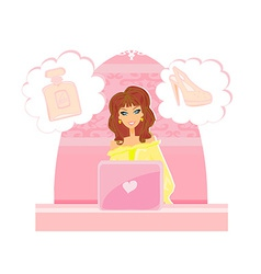 women purchasing product online using her laptop vector image