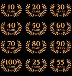10 100 anniversary laurel wreath vector
