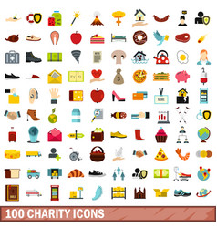 100 charity icons set flat style vector