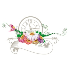 Vintage ribbon with flowers and clock vector