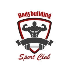 Bodybuilding sport club emblem vector