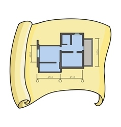 Technical drawing of house icon in cartoon style vector