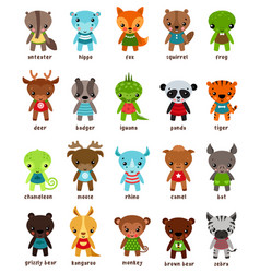 Cartton smiling animal kids vector