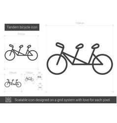 Tandem bicycle line icon vector